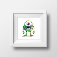Mike Wazowski (kid version) / Monsters, Inc. / Disney + Pixar / Digital Art Print / Instant Download