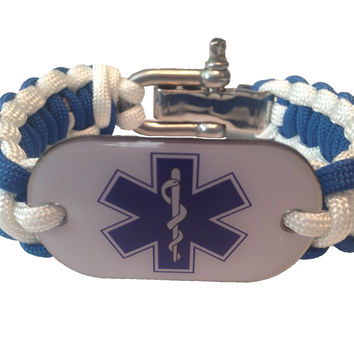 American Heroes Line Paramedic EMT EMS Emergency Rescue Dog Tag Paracord Bracelet