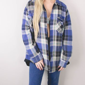 Vintage 80s Navy Plaid Flannel Lined Jacket