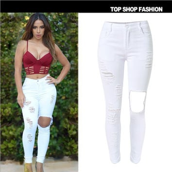 Hot Sale Slim High Waist Ripped Holes Denim Stretch Plus Size Skinny Pants [6365913604]