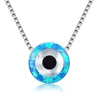 """SHIP BY USPS: Round Evil Eye Necklace Sterling Silver 925 Blue Synthetic Opal Pendant Adjustable Chain 16""""+2"""" Extender"""