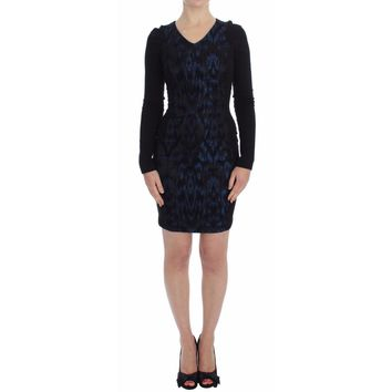 Versace Blue Black Sleeve Mini Sheath Dress