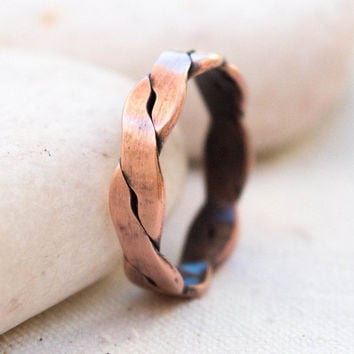 Mens copper ring,Handmade Twisted Copper Ring , Mens ring, Unisex solid copper ring, Rustic rope ring, Handmade ring, Copper jewelry