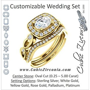 CZ Wedding Set, featuring The Madison engagement ring (Customizable Oval Cut Design with Halo and Bezel-Accented Infinity-inspired Split Band)