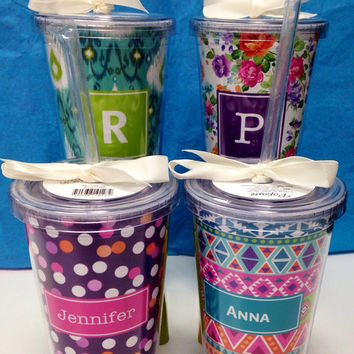 Personalized Tumbler Cup with Straw - Textile Monogram