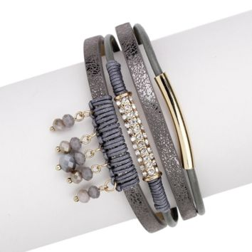 Saachi Saint Moritz Leather and Beaded Bracelet with Magnetic Clasp