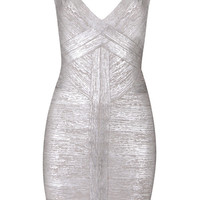 GO's Sexy Silver Sleek Bandage Dress