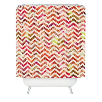 Bianca Green Floral Chevron Pink Shower Curtain