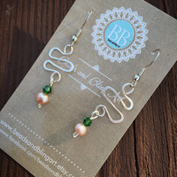 Green Earrings, genuine freshwater pearl, swarovski crystal, silver, wire wrapped, dangle and drop, gifts for her, summer, fashion, pearl