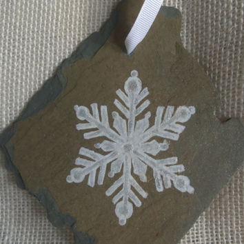 Vintage Slate OOAK Handpainted Snowflake Ornament with Card and FREE SHIPPING