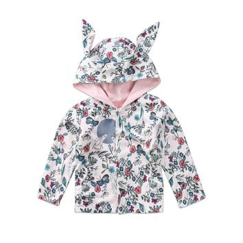 Baby Clothing Winter Girl Hooded Coat Jacket Toddler Kid Warm Outfit Rabbit Ear Hoodies New Fashion Girl Clothes0-24M