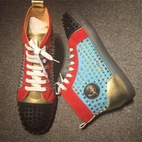 DCCK Cl Christian Louboutin Louis Spikes Style #1877 Sneakers Fashion Shoes