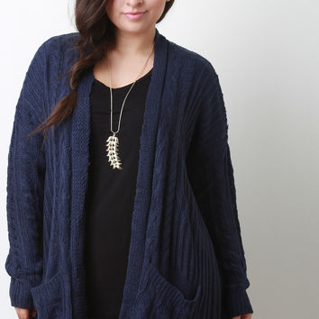 Cable Knit Front Pocket Cardigan