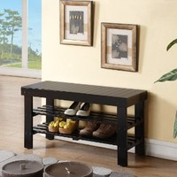 Black Finish Solid Wood Storage Shoe Bench Shelf