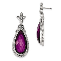 1928 Silver-Tone Purple Crystal Teardrop Earrings