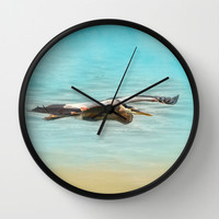 Arrival - Blue Heron - Wildlife Wall Clock by Jai Johnson