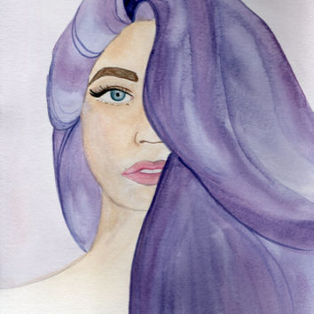 Lady with Purple Hair Watercolor Portrait, Painting of a Woman, Portrait of a Girl