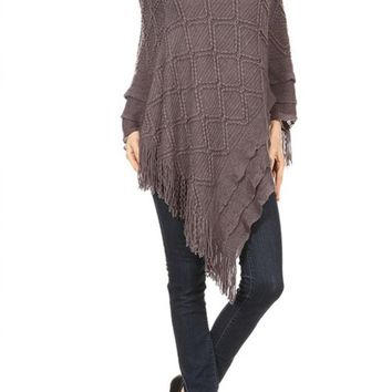 Womens Pullover V-Neck Sweater Poncho Cape with Fringe Gray: One Size