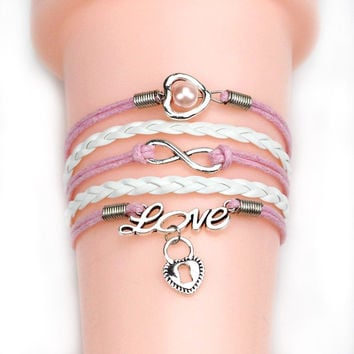 Best Gift Infinity love Birds sister Charm Bracelet With Handwoven leather Bracelet