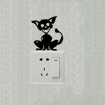 Zombie Cat Funny Switch Stickers Art  Decoration Wall Decal 2SS0373