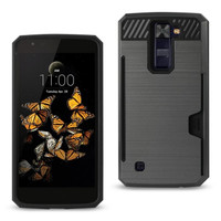 Reiko LG K8 Slim Armor Hybrid Case-Gray With Card Holder  Slot (Silicone+Protector Cover)