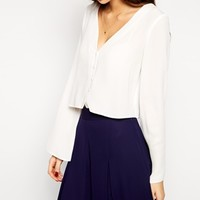 Love Button Through Blouse with Bell Sleeve