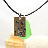 "Unisex Caribbean ""King of my Heart"" Green Sea Glass and Leather Pendant Stamped Letter Necklace choker surfer natural beach men gift"