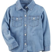 Denim Button-Front Top