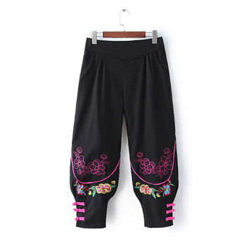 Summer Vintage Embroidery High Rise Cotton Linen Pants [4919991876]