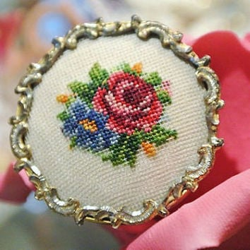 1940s Austria Petit Point Brooch Petitpoint Antique Needlepoint Brooch Viennes Vienna Floral Rose Rocco Style Victorian Flare Frame
