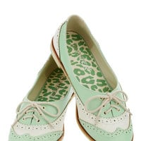 ModCloth Menswear Inspired Amalgam of the Year Flat in Mint and Ivory