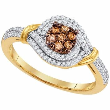 10kt Yellow Gold Womens Round Brown Color Enhanced Diamond Cluster Ring 1-3 Cttw