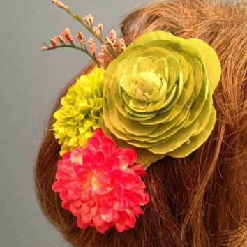 Festival Hair Clip, Hippie Flowers, Pink and Green Hair Flowers, Boho, Festival Hairpiece, EDC, Hair Clip, Burning man, Coachella