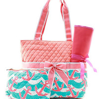 Monogram Aqua/coral Diaper bag/Personalized Aqua anchor Diaper bag/ bags /purse