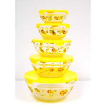 5pc Glass Bowl Yellow Lids w/ Yellow Sunflowers Case Pack 12
