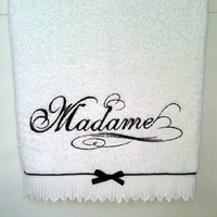 His and hers embroidered 3pcs towel set-shabby chic towel set-MADAME towel set 3pc - wedding gift - anniversary gift