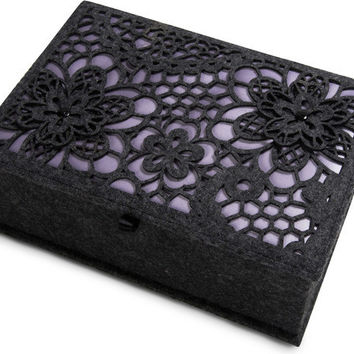 """Charcoal and Lavender - 9.75"""" x 6.75"""" x 3.75"""" Large Jewelry Box"""
