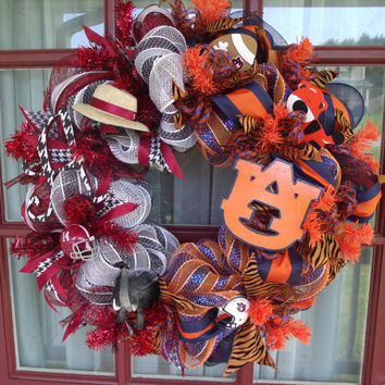 Alabama Crimson Tide Auburn Tigers House Divided Deco Mesh Door Wreath