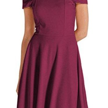 Poshsquare Womenrsquos Fashion Off The Shoulder Knit Stretch Fit Flare Classic Cocktail Skater Regular Plus Dress USA