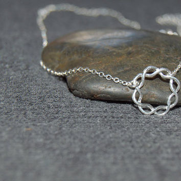 silver circle necklace, sterling braided ring necklace, minimalist necklace, open circle necklace, simple dainty necklace, gifts for her