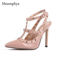 Plus Size High heels shoes woman Ladies Sexy Pointed Toe pumps Buckle rivets nude heels dress wedding shoes 11.5cm