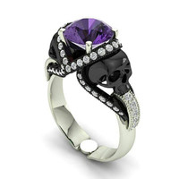 Amethyst Skull Engagement Ring 10 k Genuine Center
