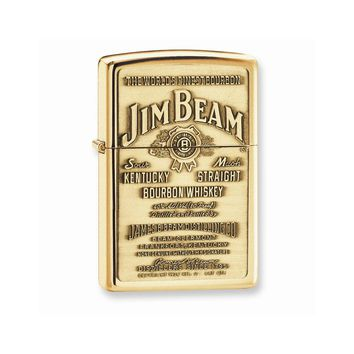 Zippo Jim Beam Emblem High Polished Brass Lighter - Engravable Gift Item