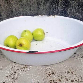 Large Vintage Enamelware Wash Basin Red Trim Enamel Large Oval Bowl Small Tub
