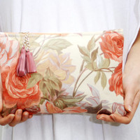 45% off ROSA/ Floral patent leather and cotton clutch - Ready to Ship - back to school sale