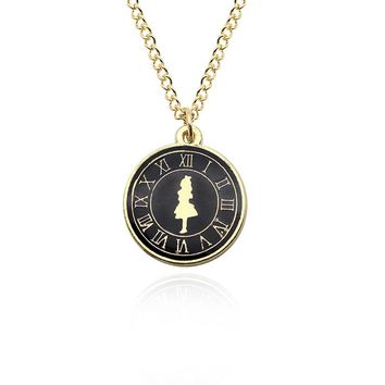 Fashion Alice Girl Clock Necklace For Women Girls Gold Chain Enamel Charm Pendant Alice In Wonderland Movie Jewelry Collares