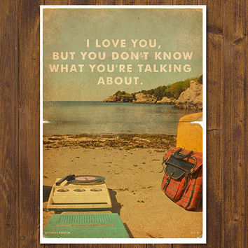 Moonrise Kingdom - Wes Anderson Movie Poster - Vintage Style Magazine Retro Print Cinema Studio Watercolor Background - Pick your Size