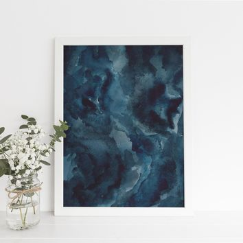 Dark Blue Night Sky Outer Space Watercolor Constellation Art Print