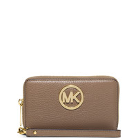 Michael Michael Kors Fulton Large Flat Multifunction Phone Wallet, Dark Dune LAVELIQ