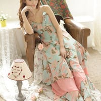 Floral Print Ruffled V-Neck Spaghetti Strap Pleated Chiffon Maxi Dress